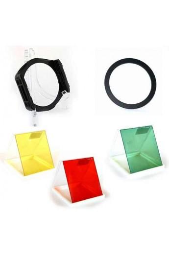 Kit per il bianco-nero portafiltri lastrina con anello + filtro a lastra rosso + filtro giallo + filtro verde