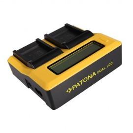 Patona CaricaBatterie doppio slot per batterie Serie SONY F con Display Lcd