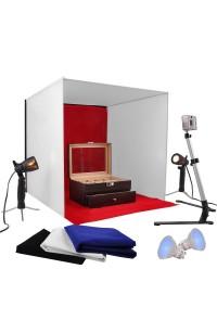 Kit studio 60x60cm set completo con 2 luci e 4 fondali