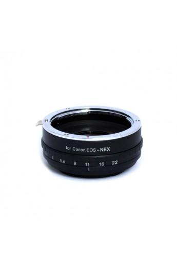 Anello adattatore obiettivi Canon EOS EF su Mirrorless Sony NEX con DIAFRAMMA